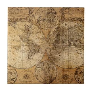 Atlas del mapa del mundo del vintage azulejo cuadrado pequeño