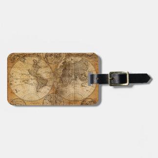 Atlas del mapa del mundo del vintage etiquetas maletas