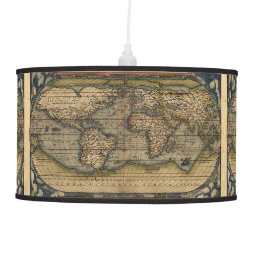 Atlas del mapa del mundo del vintage histórico lámpara de techo