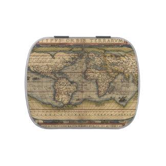 Atlas del mapa del mundo del vintage histórico jarrones de dulces