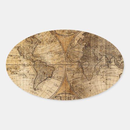 Atlas del mapa del mundo del vintage calcomania oval