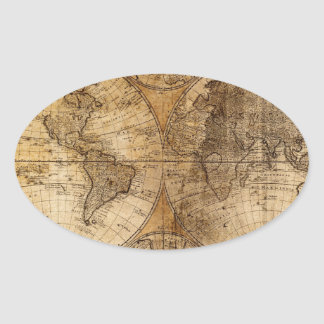 Atlas del mapa del mundo del vintage pegatina ovalada