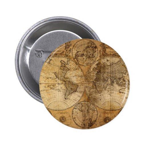Atlas del mapa del mundo del vintage pin redondo de 2 pulgadas