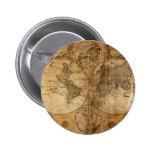 Atlas del mapa del mundo del vintage pins