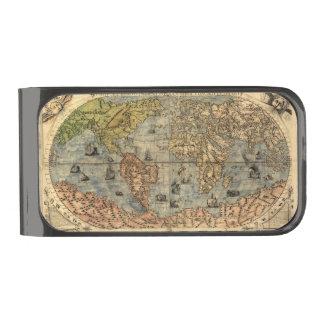 Atlas del vintage del mapa del mundo histórico clip para billetes metalizado