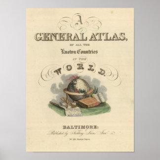 Atlas general de la página de título del mundo póster