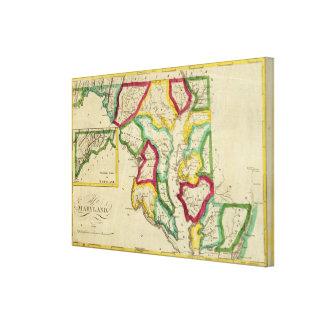 Atlas general de Maryland Impresión En Lienzo Estirada