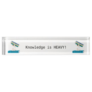 Atlas Holding Stack Of Books Desk Name Plate