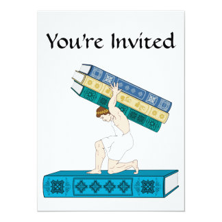 Atlas Holding Stack of Books 5.5x7.5 Paper Invitation Card
