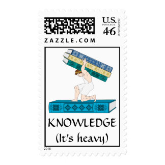 Atlas Holding Stack of Books Postage Stamps