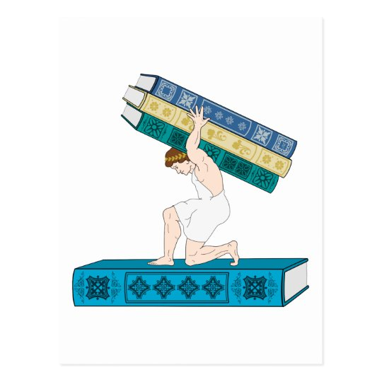 Atlas Holding Stack of Books Postcard