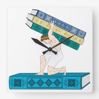 Atlas Holding Stack of Books Wall Clock