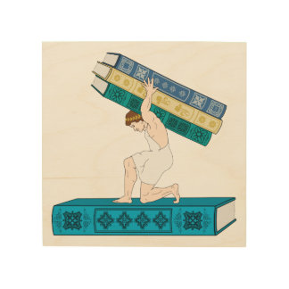 Atlas Holding Stack Of Books Wood Print
