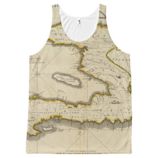 Atlas Map of Haiti All-Over Print Tank Top