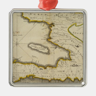 Atlas Map of Haiti Metal Ornament