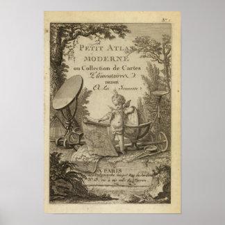 Atlas moderno de la página de título pequeño póster