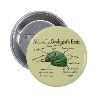 Atlas of a Geologist's Brain Funny Gifts Buttons