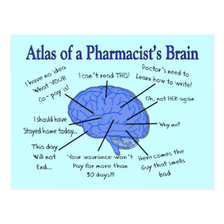 Atlas Of A Pharmacist's Brain-Hilarious Postcard