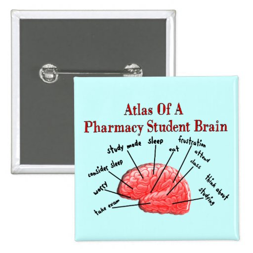 Atlas of a Pharmacy Student Brain 2 Inch Square Button