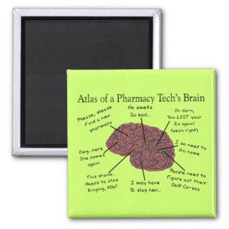 Atlas of a Pharmacy Tech's Brain 2 Inch Square Magnet