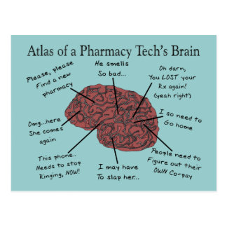 Atlas of a Pharmacy Tech's Brain Postcard