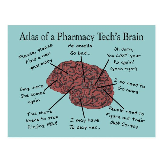 Atlas of a Pharmacy Tech's Brain Postcard