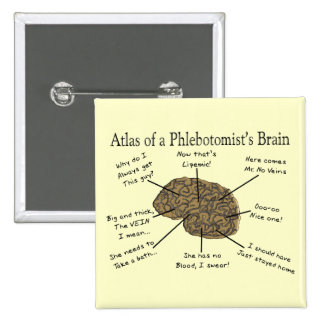Atlas of a Phlebotomist's Brain 2 Inch Square Button