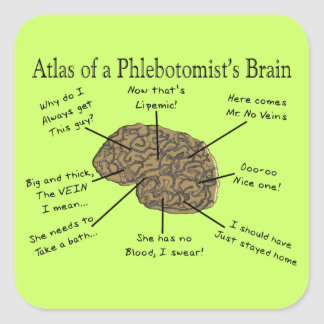 Atlas of a Phlebotomist's Brain Square Sticker
