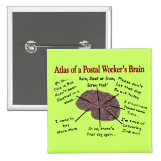 Atlas of a Postal Worker's Brain 2 Inch Square Button