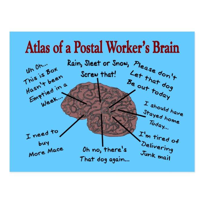 Atlas Of A Postal Worker S Brain Postcard Zazzle Com