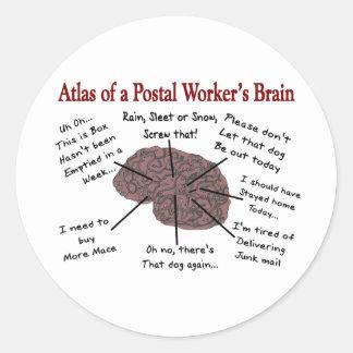 Atlas of a Postal Worker's Brain Round Sticker