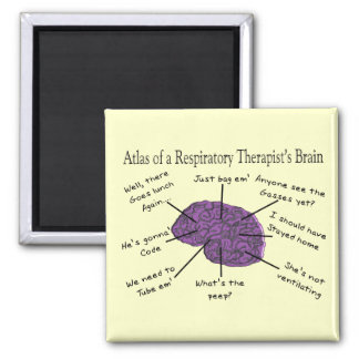 Atlas of a Respiratory Therapist's Brain 2 Inch Square Magnet