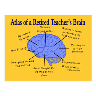 Atlas of a Retired Teacher's Brain Postcard