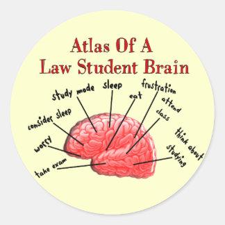 Atlas of Law Student Brain Classic Round Sticker
