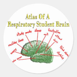 Atlas of Respiratory Student Brain Gifts Classic Round Sticker