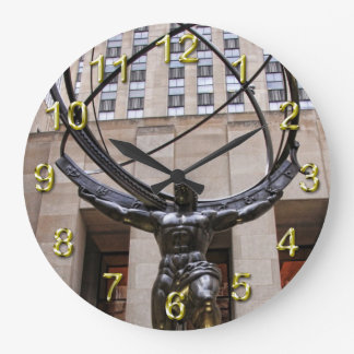 Atlas Statue, Rockefeller Center, NYC Large Clock