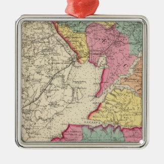 Atlas topográfico de los condados 2 de Maryland Adorno Navideño Cuadrado De Metal