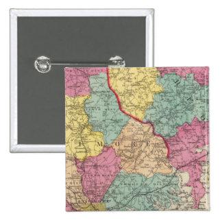 Atlas topográfico de los condados 3 de Maryland Pin Cuadrada 5 Cm