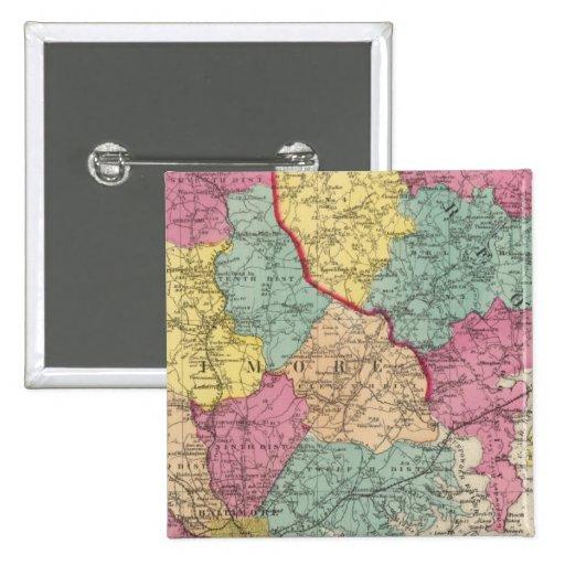Atlas topográfico de los condados 3 de Maryland Pin Cuadrado