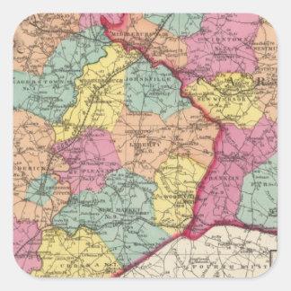 Atlas topográfico de los condados 5 de Maryland Pegatina Cuadrada