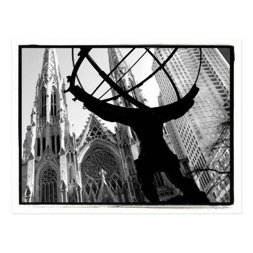 Atlas y postal de la catedral de St Patrick