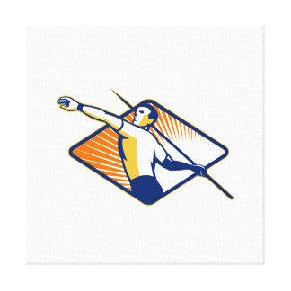 Atleta con lanzar de la jabalina lona estirada galerias