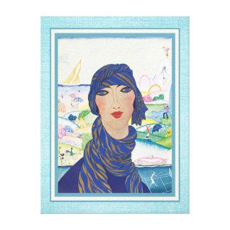 Atleta de la mujer del art déco del vintage impresión en lienzo