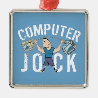 Atleta del ordenador del friki adorno navideño cuadrado de metal