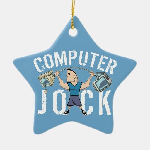 Atleta del ordenador del friki adorno navideño de cerámica en forma de estrella