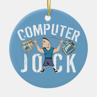 Atleta del ordenador del friki adorno navideño redondo de cerámica