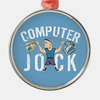 Atleta del ordenador del friki adorno navideño redondo de metal