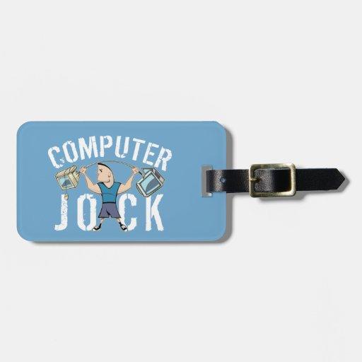 Atleta del ordenador del friki etiquetas maleta
