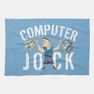 Atleta del ordenador del friki toallas de mano