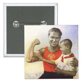 Atleta soviético pin cuadrada 5 cm